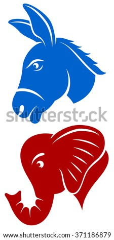Vector illustration of a donkey and an elephant, representing the Democratic and Republican political parties of the United States. - stock vector