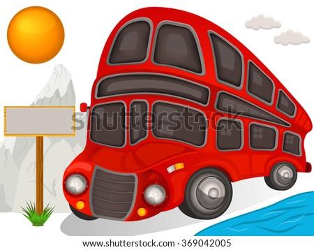 Vector illustration of a double decker bus travel icon - stock vector