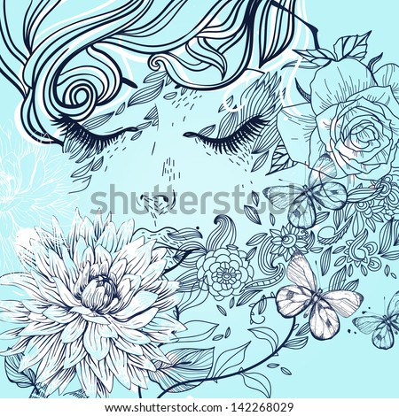 vector illustration of  a dreaming girl and blooming flowers - stock vector