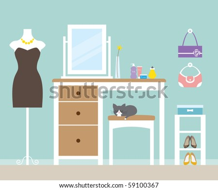 Vector illustration of a dressing room. - stock vector