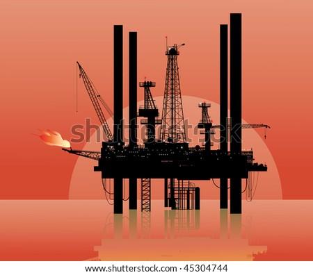 Vector illustration of a drilling platform in sea - stock vector