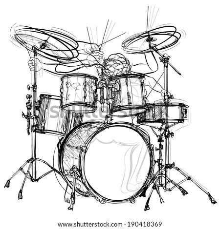 vector illustration of a drummer - stock vector
