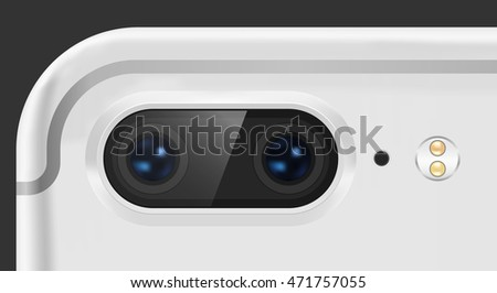 Vector illustration of a dual camera on the cellphone.