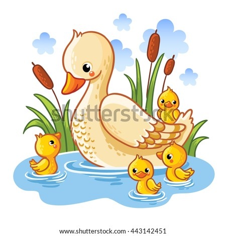 Mother Duck And Ducklings Clipart