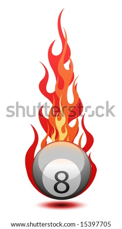 Vector illustration of a ?Eight? billiard ball in fire - stock vector