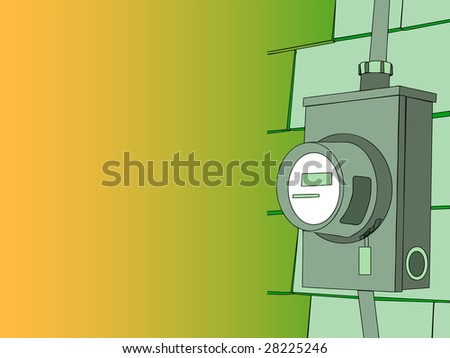 Vector illustration of a electrical meter with copy space - stock vector