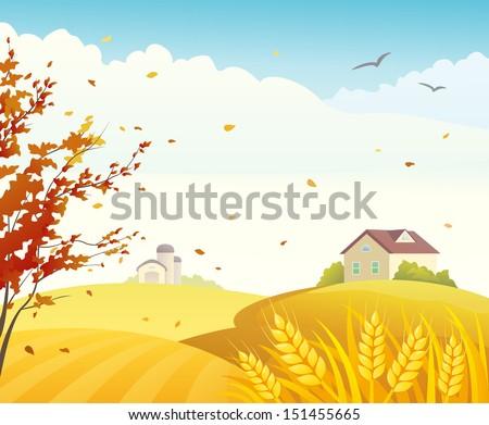 Vector illustration of a fall farm scene - stock vector