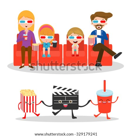 vector illustration of a family watching movie,  happy  family to a movie together,movie and clapper and popcorn on white background, Illustration of family watching a movie in 3D, cinema. - stock vector
