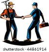 vector illustration of a farmer and a tradesman,repairman,plumber or handyman shaking hands - stock vector