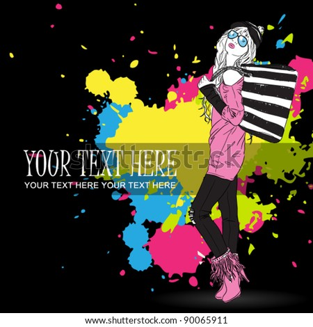 Vector illustration of a fashion girl on a dirty background. Place for your text.