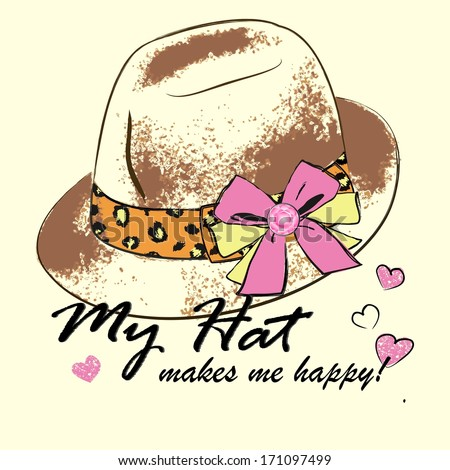 vector illustration of a fashion women's hat - stock vector