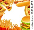Vector Illustration of a Fast Food Background - stock vector