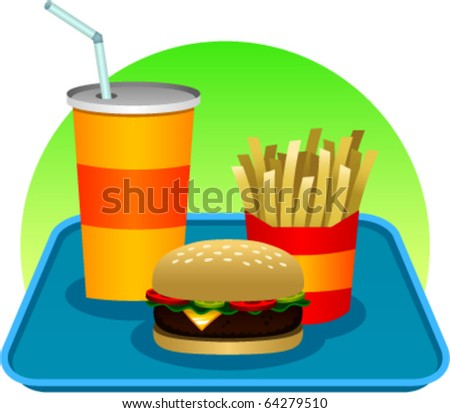 vector illustration of a fast food meal consisting of a hamburger, soda and french fries, all resting on a plastic tray. - stock vector