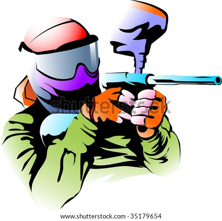 Vector illustration of a figure of the player in a paintball - stock vector
