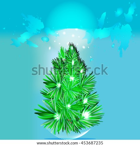 vector illustration of a fir tree with sun lights on the branches, with water colored abstract background - stock vector