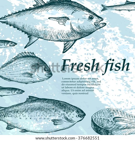 Vector illustration of a fish restaurant menus, invitations, fish market.