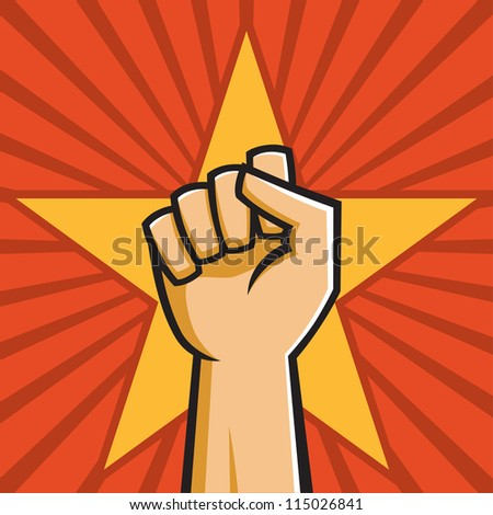 Vector Illustration of a fist held high in the style of Russian Constructivist propaganda posters. - stock vector