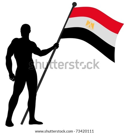 Vector illustration of a flag bearer - stock vector