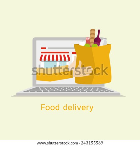vector illustration of a flat graphic style food order online via a computer or laptop, food delivery - stock vector