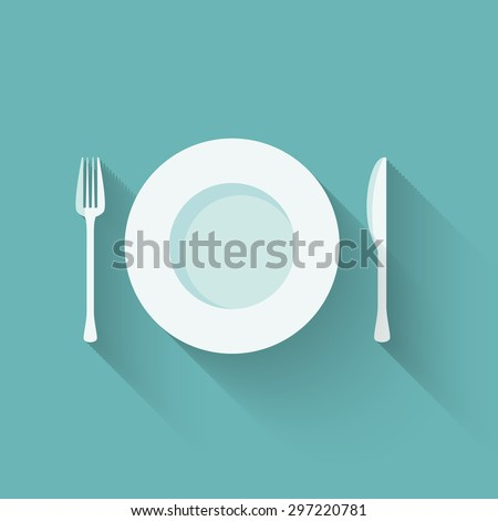 Vector illustration of a flat plate and cutlery with long shadows - stock vector