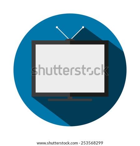 Vector illustration of a flat TV - stock vector
