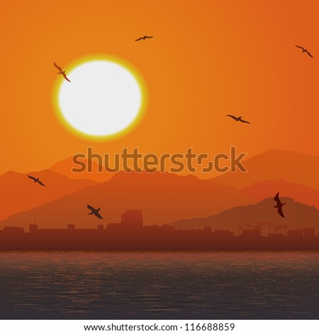 Vector illustration of a flock of birds at sunset on the sea shore with a castle.
