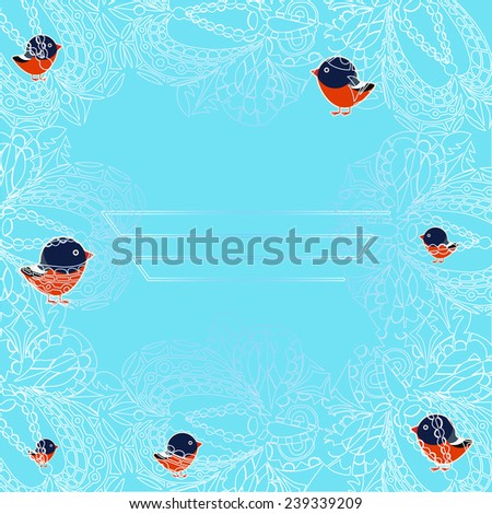Vector illustration of a flock of bullfinches through the frosty pattern - stock vector