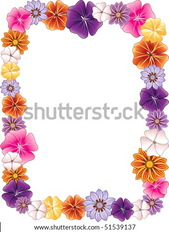 Vector illustration of a Flower border. - stock vector