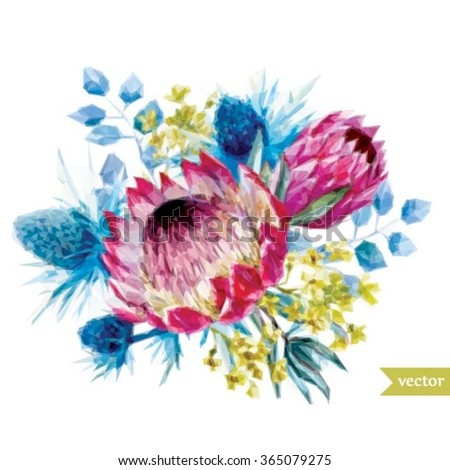 vector illustration of a flower bouquet Proteus, thorn, polygon illustration - stock vector