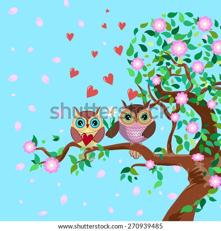 Vector illustration of a flowering tree and two cute owls in love sitting on the branch. One of owls is holding a heart while the other is giving a flower. Hearts and petals rushing into the sky. - stock vector