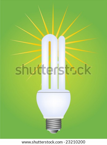 Vector illustration of a fluorescent electric bulb - stock vector