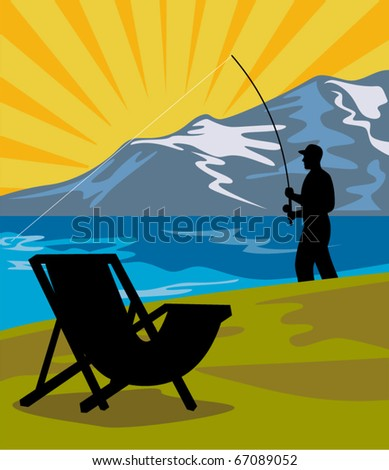 vector illustration of a Fly fisherman fishing with fly rod and reel with lake and mountains and sunburst in background and folding chair in the foreground done in retro style