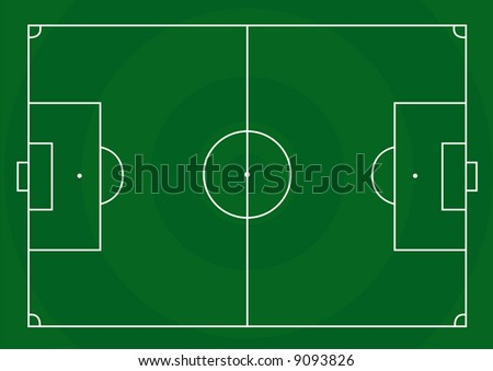 Vector illustration of a football pitch with green grass in circles shape - stock vector