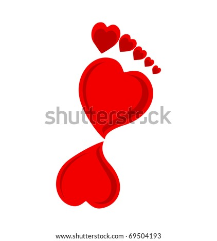 Vector illustration of a footprint made with hearts. - stock vector