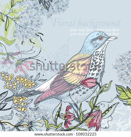 vector  illustration of a forest bird and blooming flowers - stock vector