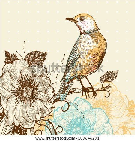 vector illustration of a forest bird and wild roses - stock vector