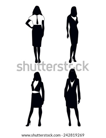 Vector illustration of a four businesswoman silhouettes - stock vector