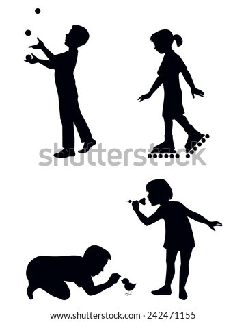 Vector illustration of a four children playing silhouettes - stock vector