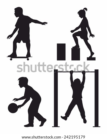 Vector illustration of a four children silhouettes - stock vector
