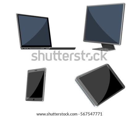 Vector illustration of a four devices set