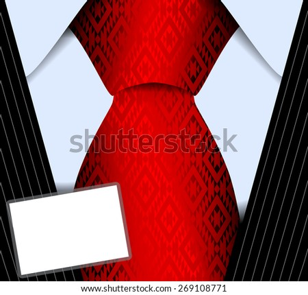 Vector illustration of a fragment of a man suit with a tie and with the badge - stock vector