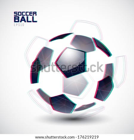 Vector illustration of a fragmented soccer ball - stock vector