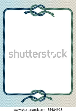Vector illustration of a frame with with a sea knots. - stock vector