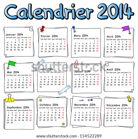 vector illustration of a french calendar 2014 week starts on Monday