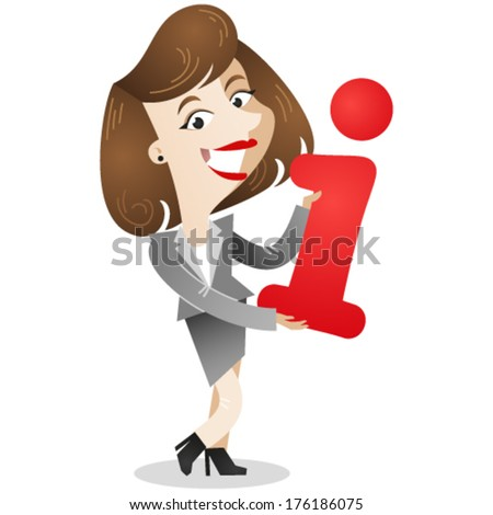"""Vector illustration of a friendly dark-haired cartoon business woman holding the letter """"i"""" as a symbol for information (JPEG version also available in my gallery).  - stock vector"""