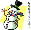 Vector illustration of a friendly magic cartoon snowman. - stock vector