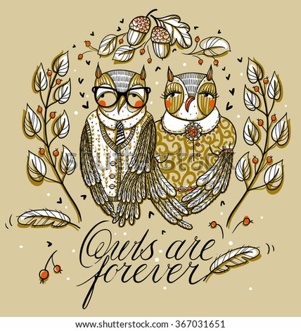 vector illustration of a funny owl's couple, leaves and acorns