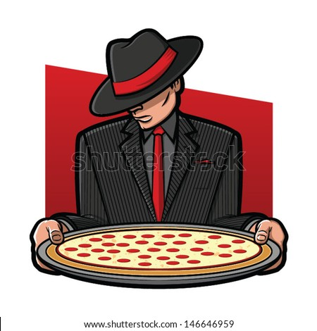 Vector Illustration of a gangster holding a pizza pie - stock vector