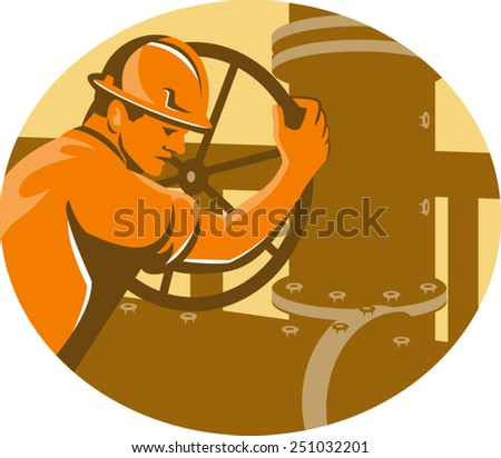 vector illustration of a gas and oil worker operator closing pipelinenetwork  pipe valve viewed from the side set inside oval done in retro style. - stock vector