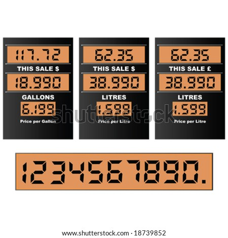 Vector illustration of a gas pump display, with separate numbers for changing prices. Information in gallons and litres, dollars and pounds - stock vector